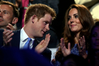 Catherine, Duchess of Cambridge, and Prince Harry watch the Closing Ceremony at the 2012 Summer Olympics. Photo / AP
