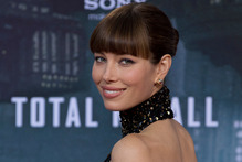 Jessica Biel stunned in a backless Elie Saab gown at the Total Recall premier. Photo / AP