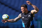 Sonny Bill Williams shows off his ball skills at the All Blacks' captain's run in Sydney yesterday. Photo / AP