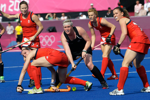 Katie Glynn in action for the Black Sticks. Photo / AP.