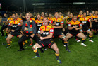 The Chiefs perform their own haka as they celebrate the win in the Investec Super Rugby final. Photo / AP.