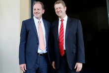 It's all smiles for now between Labour leader David Shearer (left) and David Cunliffe. Picture / Christine Cornege