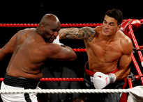 Sonny Bill Williams fights against Clarence Tillman III  in Hamilton. Photo / Christine Cornege