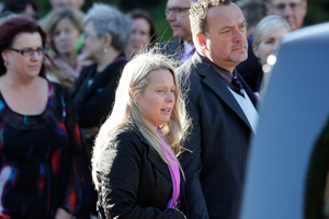 Jane Weekes and Martin Weekes follow the hearse after the memorial service for their triplets. Photo / Mark Mitchell