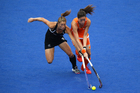 New Zealand Black Sticks Krystal Forgesson in action against the Netherlands. Photo / Brett Phibbs.