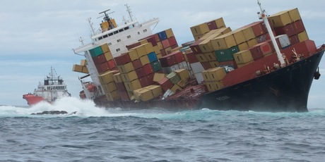 Cargo ship Rena stuck on the Astrolabe reef. Photo / File.