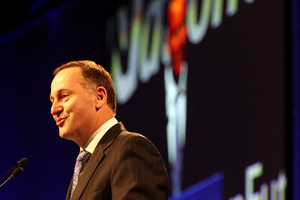 Prime Minister John Key addresses National Party annual conference. Photo / Michael Craig