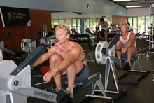 Hamish Bond and Eric Murray hit the rowing machines at NZ Rowing's High Performance Centre. Photo / Hamilton News