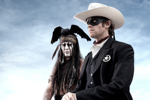 Johnny Depp in the movie of The Lone Ranger.