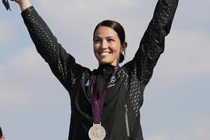 Sarah Walker celebrates her gold medal. Photo / AP