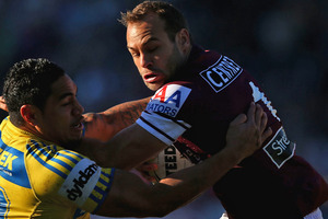 "Brett Stewart has revealed his inspiration for signing a new contract with Manly came from former teammate Steve ""Beaver"" Menzies. Photo / Getty Images"