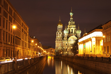 A night view of St Petersburg's Church of the Resurrection of Jesus Christ - one of many striking buildings in the city. Photo / Thinkstock