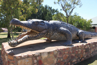 A statue of the Normanton croc - at more than eight metres long, it's the biggest that's ever been captured. Photo / Colin Espiner