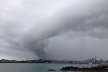 A funnel cloud forms over Auckland. Photo / Ben Gundry www.weatherforum.org.nz