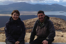 Judy Bailey and mountain guide Stew Barclay on the Tongariro Crossing. Photo / Supplied