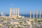 The Mediterranean Sea provides a stunning backdrop to Libya's ancient Roman city of Sabratha. Photo / Jill Worrall