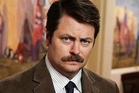 Ron Swanson will hook up with Lucy Lawless in several episodes of the upcoming season of Parks and Recreation. Photo / Supplied