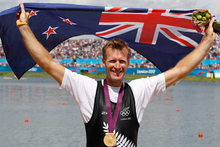 Mahe Drysdale after taking gold in the Olympic Games men's single scull. Photo / Mark Mitchell