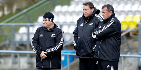All Black coaches Steve Hansen (centre), Aussie McLean (left) and Ian Foster.  Photo / Getty Images