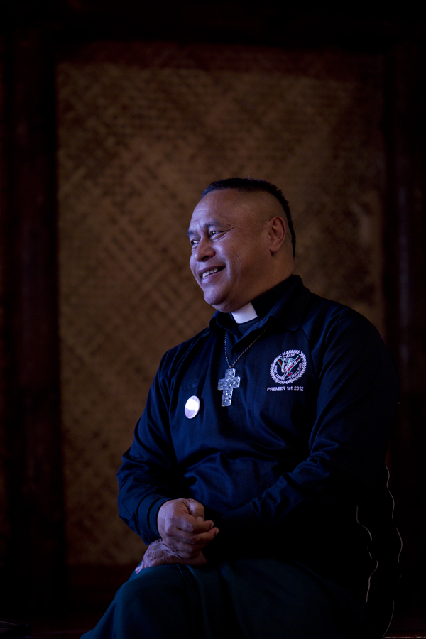 Mua Strickson-Pua is the reverend who looks after the Mangere Hawks rugby league team.