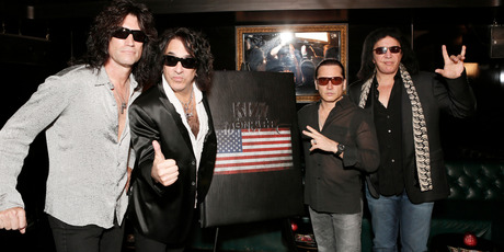 Tommy Thayer, Paul Stanley, Eric Singer and Gene Simmons from Kiss attend the Kiss Monster Book launch at the Viper Room in West Hollywood. Photo / AP