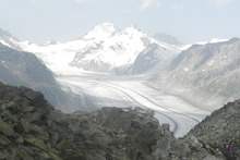 Switzerland's 23-kilometre-long Aletsch Glacier is a hiker's dream. Photo / Simon Winter