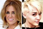 Miley Cyrus before (left) and after her haircut. Photo / AP/Twitter