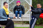 Edith Amituanai with Zyah (4) and Isaac (5) at their favourite place, Don Buck corner park. Photo / Steven McNicholl