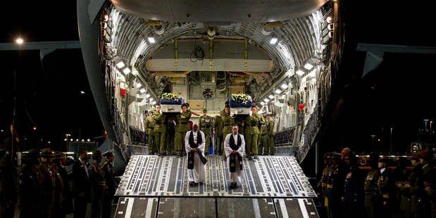 Two of the NZ Army soldiers who died in Afghanistan return home. Picture / NZ Defence