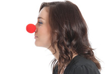 TV presenter Shannon Ryan getting ready for Red Nose Day. Photo / Supplied.