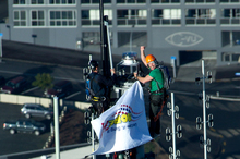 Marc Ellis on the Sky Tower during a radio stunt. Photo / Dean Purcell
