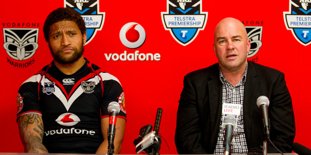 Warriors' captain Manu Vatuvei and coach Brian McClennan reflect on another bad day at the office. Photo / Greg Bowker
