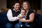 Mahara (left) and Monique, with their 5-month-old son Jamie, have been together for eight years and would like to marry. Photo / Natalie Slade