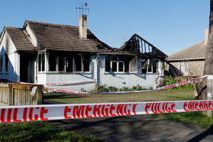 The scene of the fatal house fire in Hamilton this morning. Photo / NZ Herald