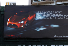 Road action groups say this billboard is dangerous. Photo / Doug Sherring