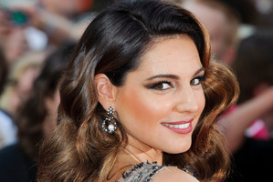 British actress Kelly Brook arrives for the World premiere of Keith Lemon: The Film. Photo / AP