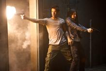 Colin Farrell and Jessica Biel go in all guns blazing in Total Recall.