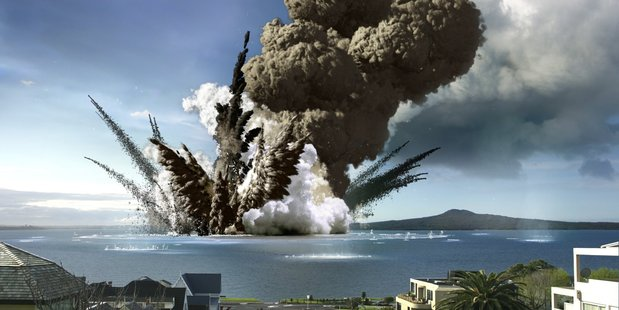 Illustration of a volcano erupting in the Hauraki gulf with Rangitoto in the background. Image / Auckland War Memorial Museum/brandspank.com