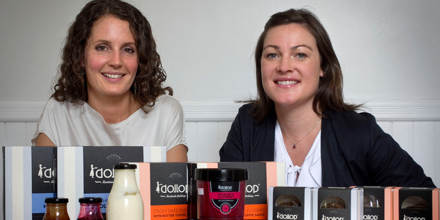 Julia Crownshaw (left) and Christie McCarthy, founders of the Dollop Pudding food business. Photo / Natalie Slade