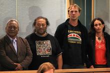 Tama Iti, Te Rangikaiwhira Kemara, Urs Signer and Emily Bailey in the High Court in Auckland. Photo / Greg Bowker