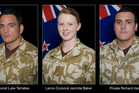Corporal Luke Tamatea, 31, Lance Corporal Jacinda Baker, 26, and Private Richard Harris,  21 were killed in Afghanistan this week. Photo / Supplied