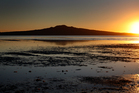 The sun rises over Rangitoto Island as a runner heads through the shallow water at low tide on Cheltenham Beach. Photo / Sarah Ivey