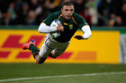 South Africa's winger Bryan Habana, seen here during the Rugby World Cup 2011, was in try-scoring form again last night against Argentina. Photo / Brett Phibbs