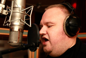 Kim Dotcom works on his rap album at Roundhead Studios, Auckland. Photo / Steven McNicholl