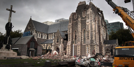 With traditional sources of comfort like Christchurch Cathedral left damaged in the quakes, people turned to social media for support, says an expert. Photo / Doug Sherring