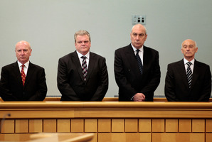 (L- R) Bridgecorp Rod Petricevic, Robert Roest, Gary Urwin and Peter Steigrad, stand in the dock at the Auckland High Court. Photo / File / Brett Phibbs