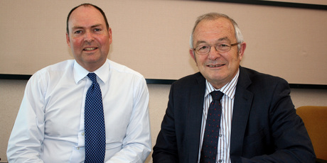 Kaipara District Council's former CEO Jack McKerchar (right), seen here with John Burt, acting chief executive in November 2011. Photo / Northern Advocate