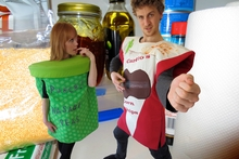 Michelle Blindell as Wasabi Punch and Ben van Lier as Carlito Corn Chips. Photo / Supplied