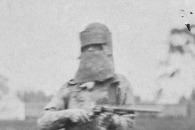 A policeman wears Ned Kelly's armour. Photo / Supplied