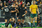Cory Jane is congratulated after scoring the second try for the All Blacks. Photo / Getty Images